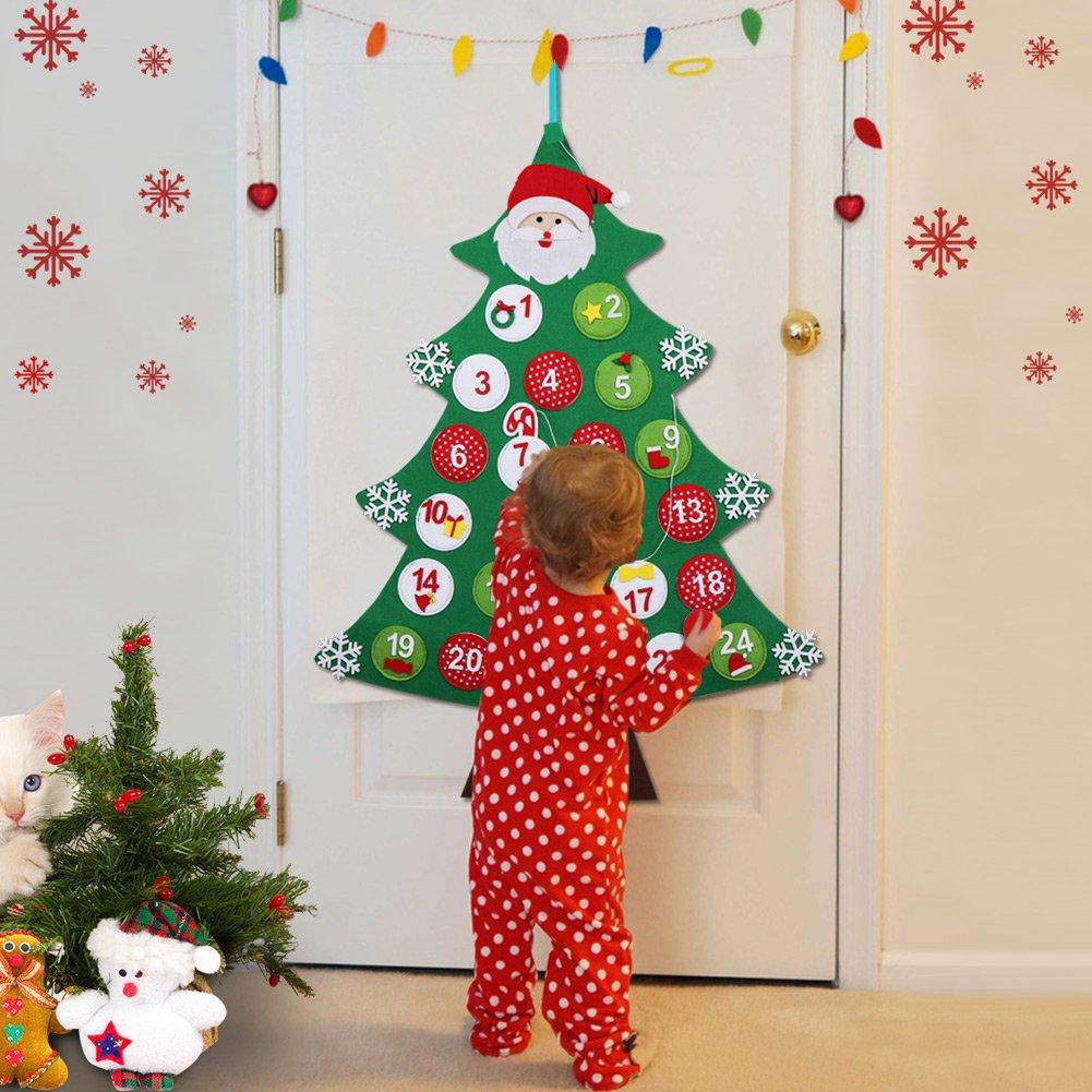 Aytai Feutre Calendrier de l'Avent pour les enfants Compte à rebours pour les calendriers d'arbre de Noël pour les décorations de Noël de cadeau de Noël 1S-SDS-GL-1@#333
