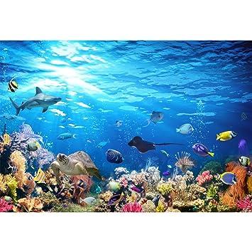 YongFoto 3x2,5m Vinilo Fondo de fotografía Acuario de Colores Fondo bajo el Agua Los Peces Tiburón Corales Telón de Fondo Fotografía cumpleaños Estudio de ...