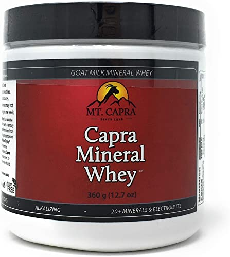 MT. CAPRA SINCE 1928 Capra Mineral Whey A Whole Food, Bio-Available Mineral Electrolyte Supplement from Goat Milk Whey, Rich in Potassium – 360 g Powder