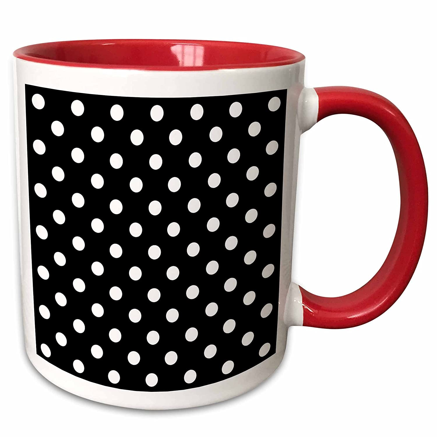 11 oz, Red Mug 3dRose 20402/_5Black and White Polka Dot Print