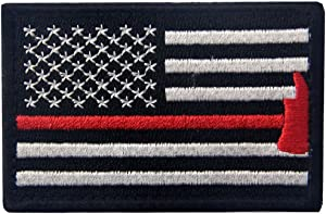 Rocking Planet US Flag with Firefighter Axe Embroidered Tactical Morale Hook & Loop Patch