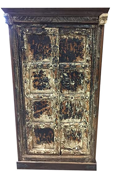 Mogul Interior Antique Gujrati Cabinet Reclaimed Teak Doors India Furniture  Rustic Distressed Chest