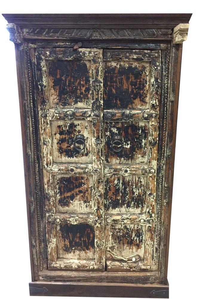 Antique Gujrati Cabinet Reclaimed Teak Doors India Furniture Rustic Distressed Chest