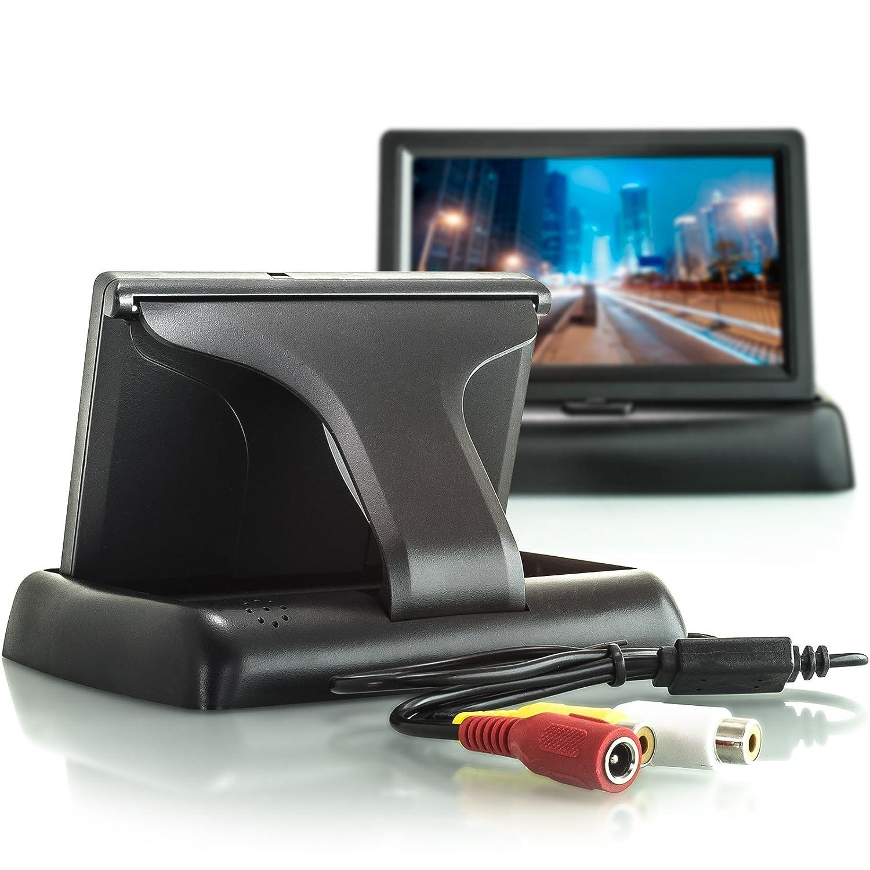 12V Betrieb Audio-Video Anschl/üsse /über Cinch RCA 16:9 Breitbild Farb-Display mit Lautsprecher XOMAX XM-M4301 Auto Monitor f/ür R/ückfahrkamera 11 cm aufklappbar 4,3 Zoll