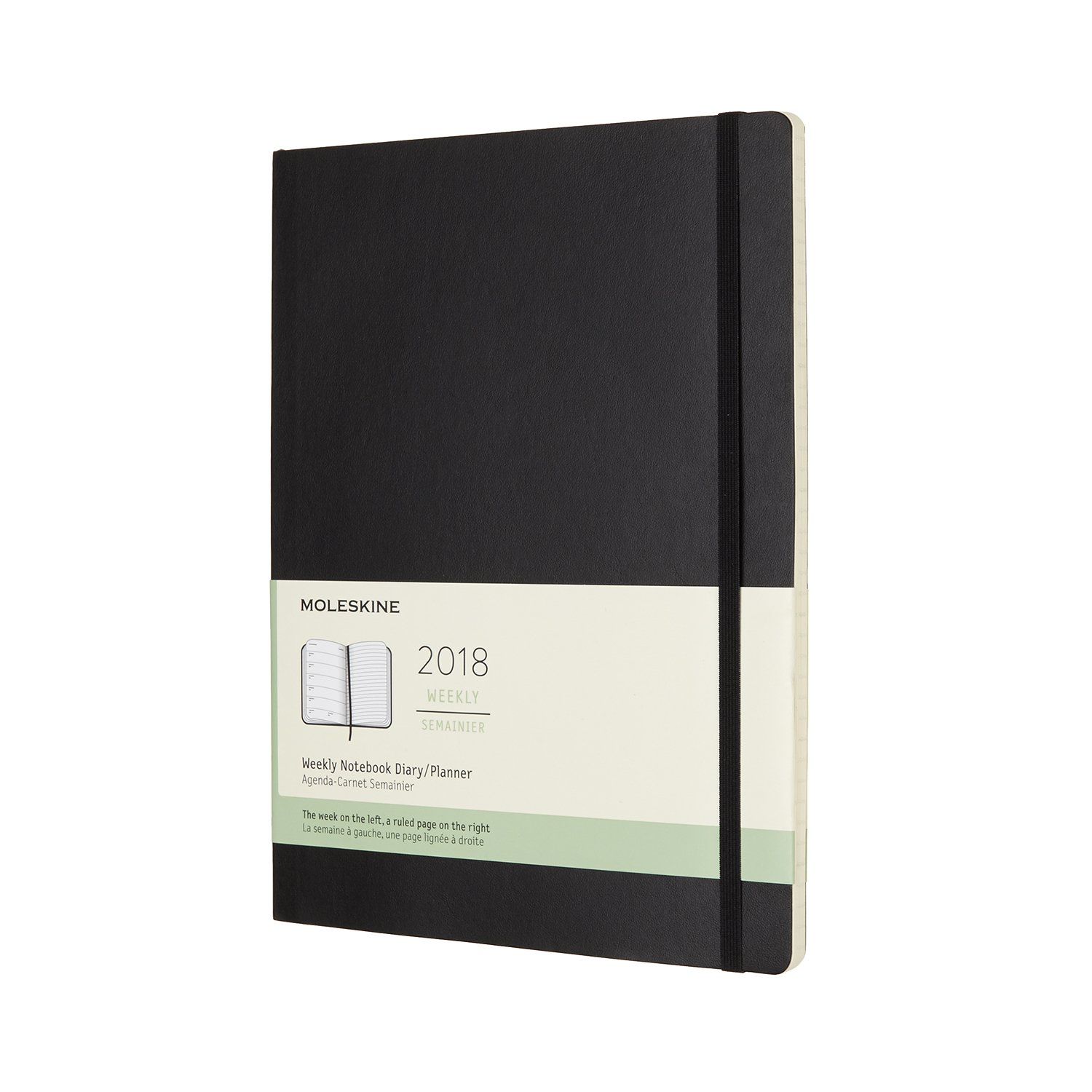 Moleskine 12 Month Weekly Planner, Extra Large, Black, Soft Cover (7.5 x 10) by Moleskine