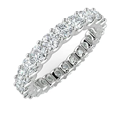 "e32a6314ab8faf 1.00Ct Round Diamond Claw Set"" U"" Prong Full Eternity Ring, 18k  Rose"