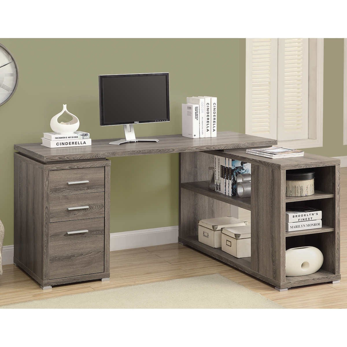 Grey Modern Left / Right Facing Corner Desk Workstation | Perfect Contemporary Home Office or College Student Dorm Room Storage Table for Your Computer, PC, Laptop, Monitor, Books, Papers and Supplies