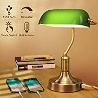 Green Glass Banker's Lamp with 2 Fast USB Charging Ports, 3 Way Dimmable Desk Lamp, Touch Control Vintage Table Lamp for…