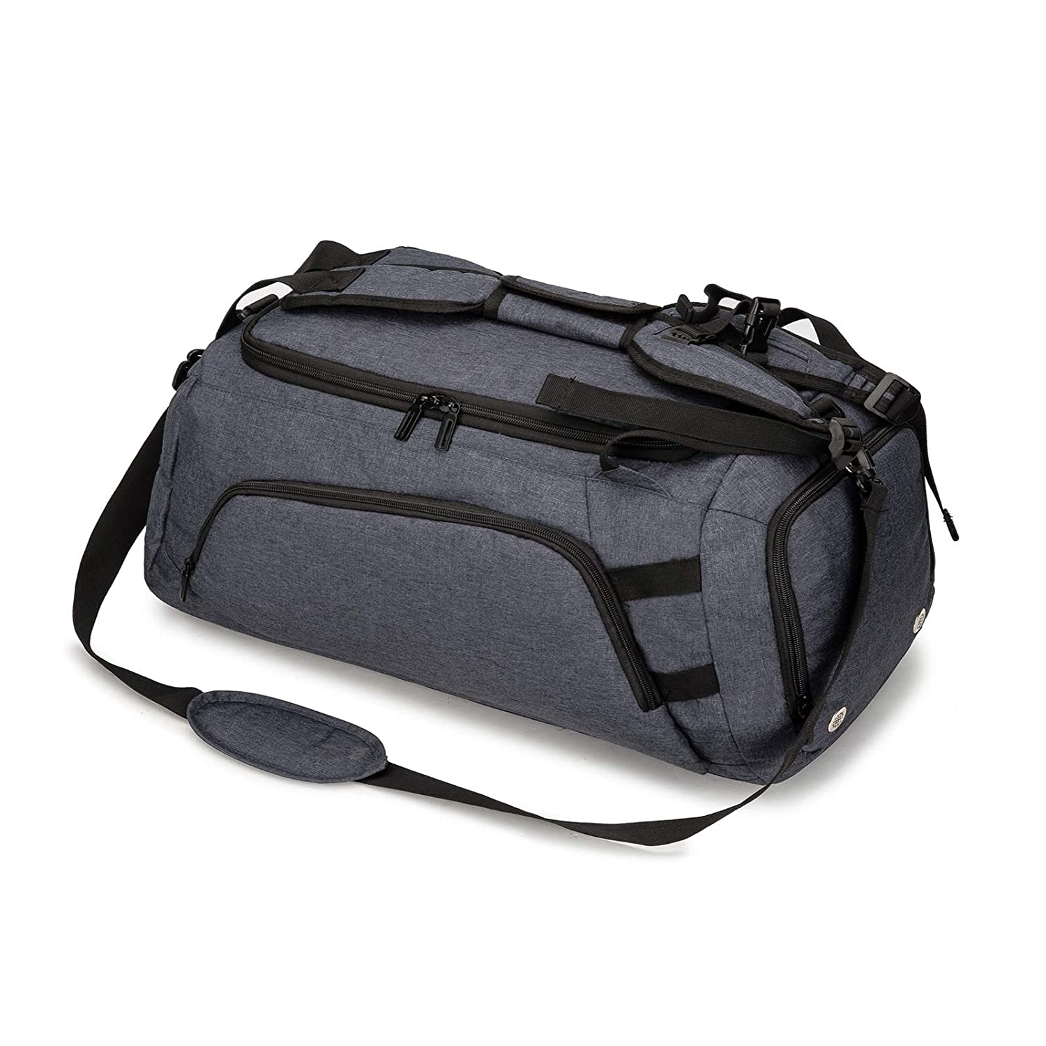ACECHA Sports Gym Bag with Shoes Compartment Travel Duffel Bag for Men Black