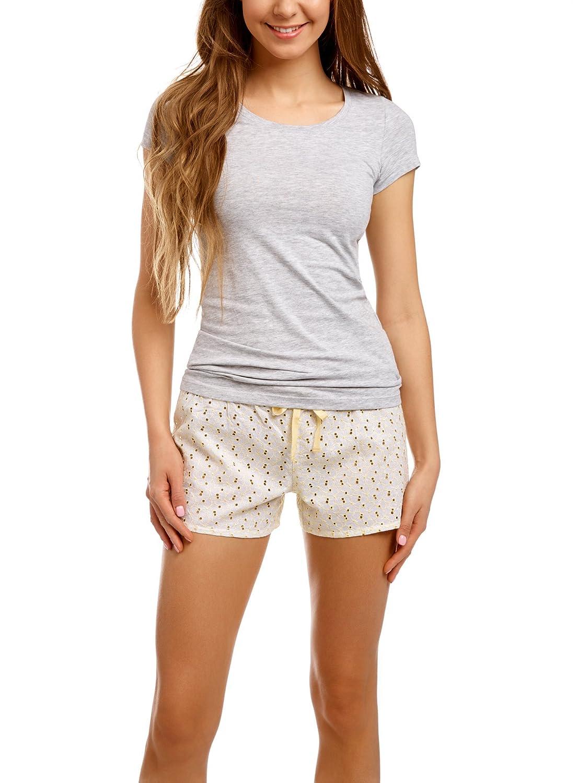 Ricamo Ultra Shorts oodji EU 40 con Donna IT Comodi Bianco 36 lJKcT135uF