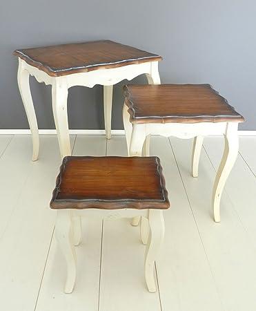 Tavolino Salotto Provenzale.New Space Tris Tavolini Country Provenzale Shabby Tavolino Salotto Cucina Quadrato Basso