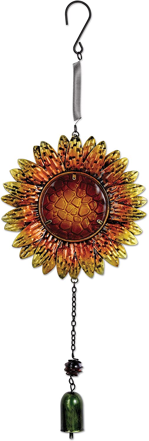 Sunset Vista Designs Metal and Glass Sunflower Bouncy Hanging Decoration