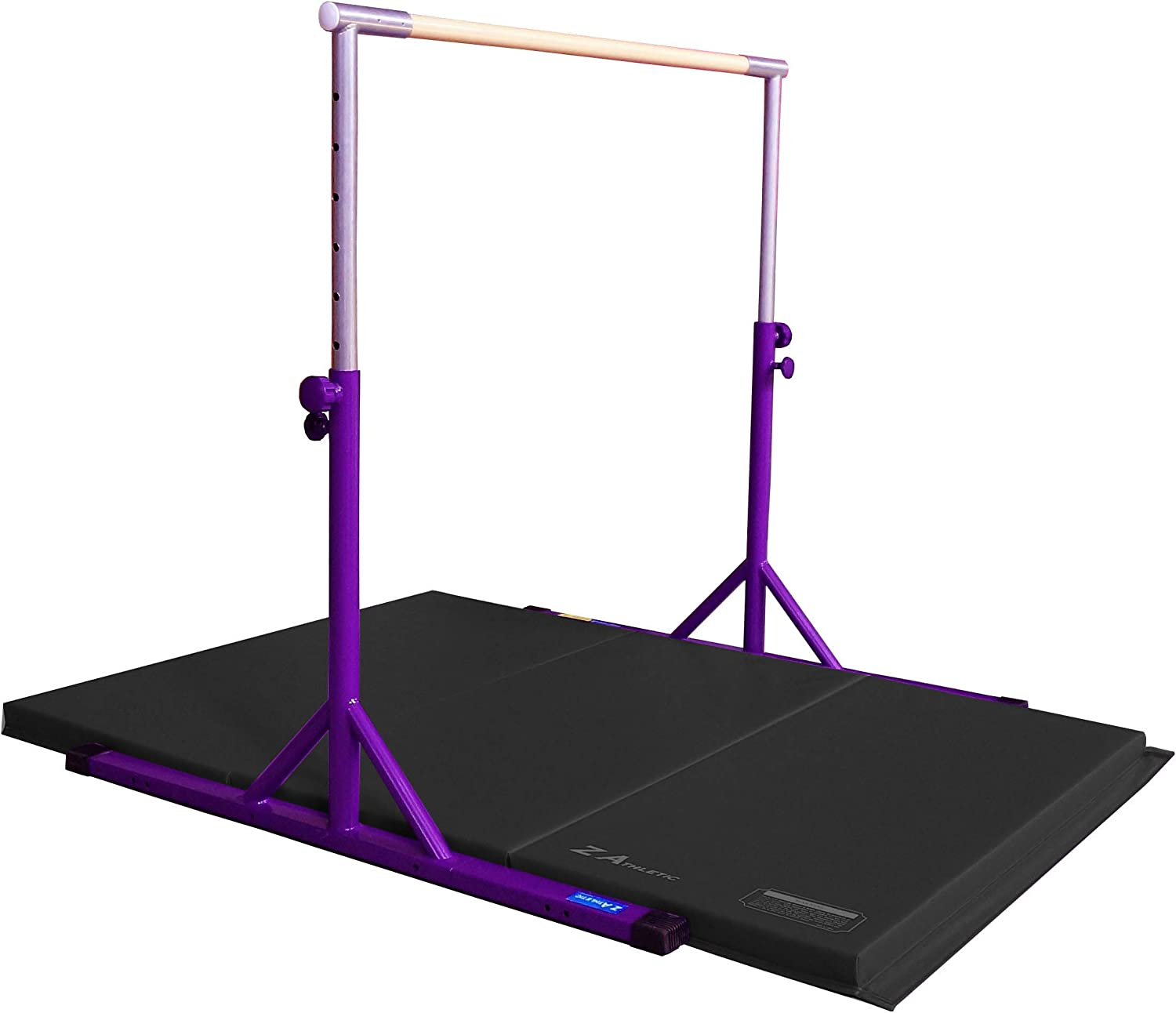 Z ATHLETIC Expandable Kip Bar Adjustable Height and Gymnastics Mat (Multiple Colors)