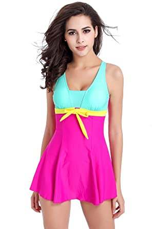 4427f7f2585 Girls & Ladies Modesty One Piece Spa Padded Swimming Costume Surfing Suit  with Skirt (L