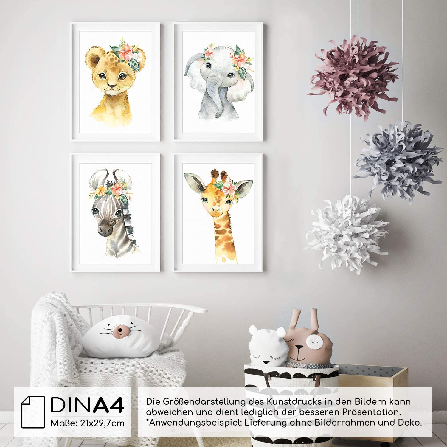 Farm Frechdax/® Set of 4 Childrens Room Posters A4 Pictures Baby Room Decorative Girl Boy A4-21x29,7cm Set of 4 Flowers Rabbit