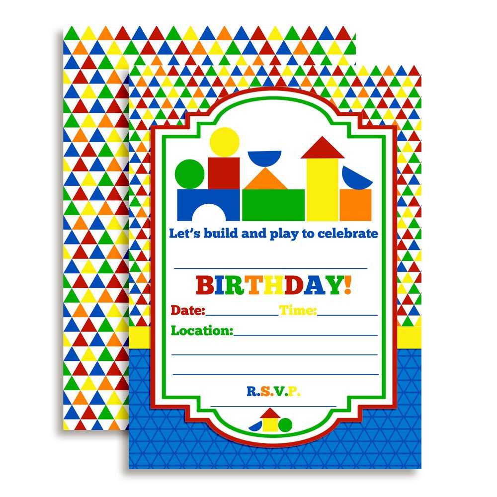 Wood Blocks Preschool Themed Birthday Party Invitations 20 5x7 Fill in Cards with Twenty White Envelopes by AmandaCreation