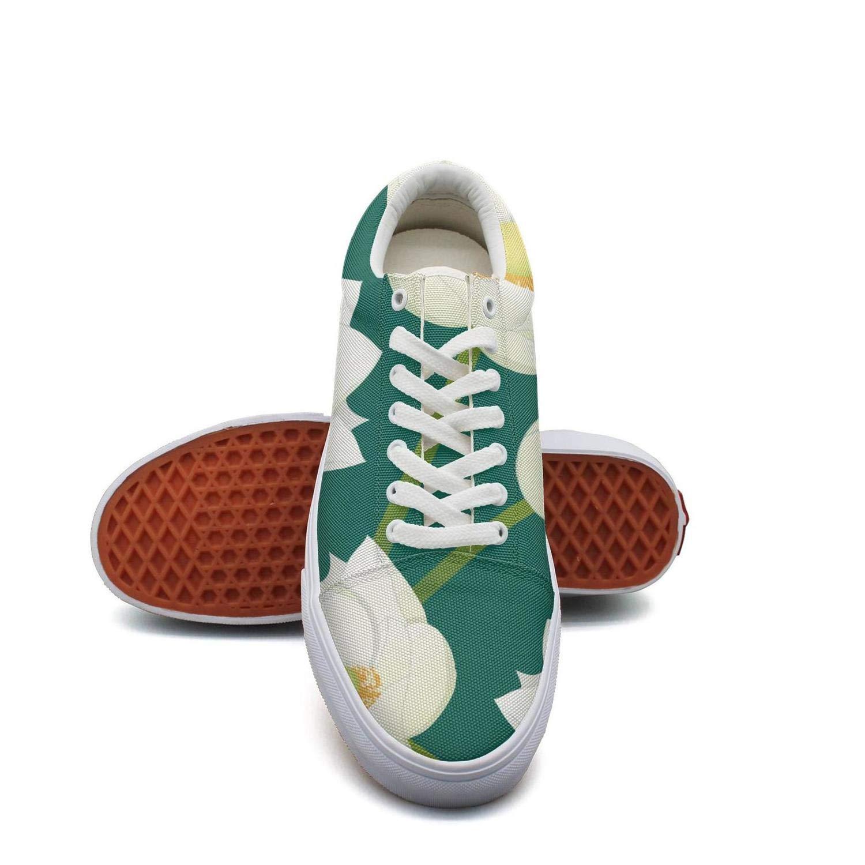 Ouxioaz Womens Tennis Shoe Laces White Outdoor Lotus Charm Casual Canvas Shoes