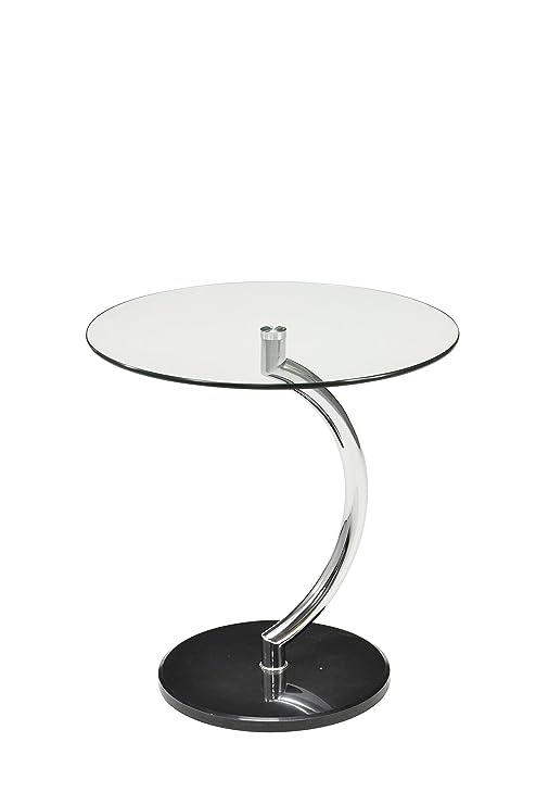 DECORARTE - Mueble Auxiliar - Mesa Cristal/Cromo: Amazon.es ...
