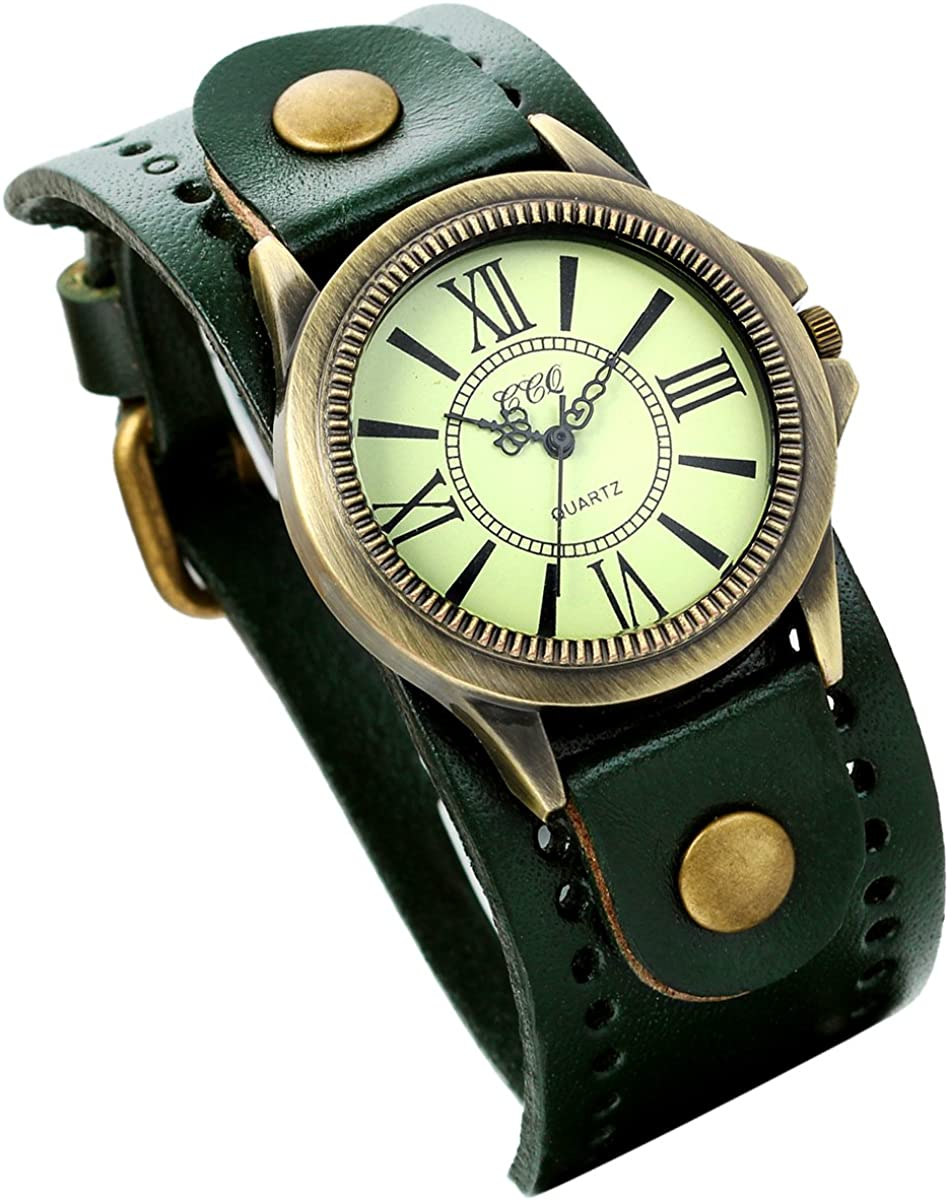 Watch for Men and Women Vintage Dark Green Wide Cuff Leather Bracelet Quartz Wrist Watch with Roman Numerals Display Casual Dress Punk Wrist Watch for Christmas