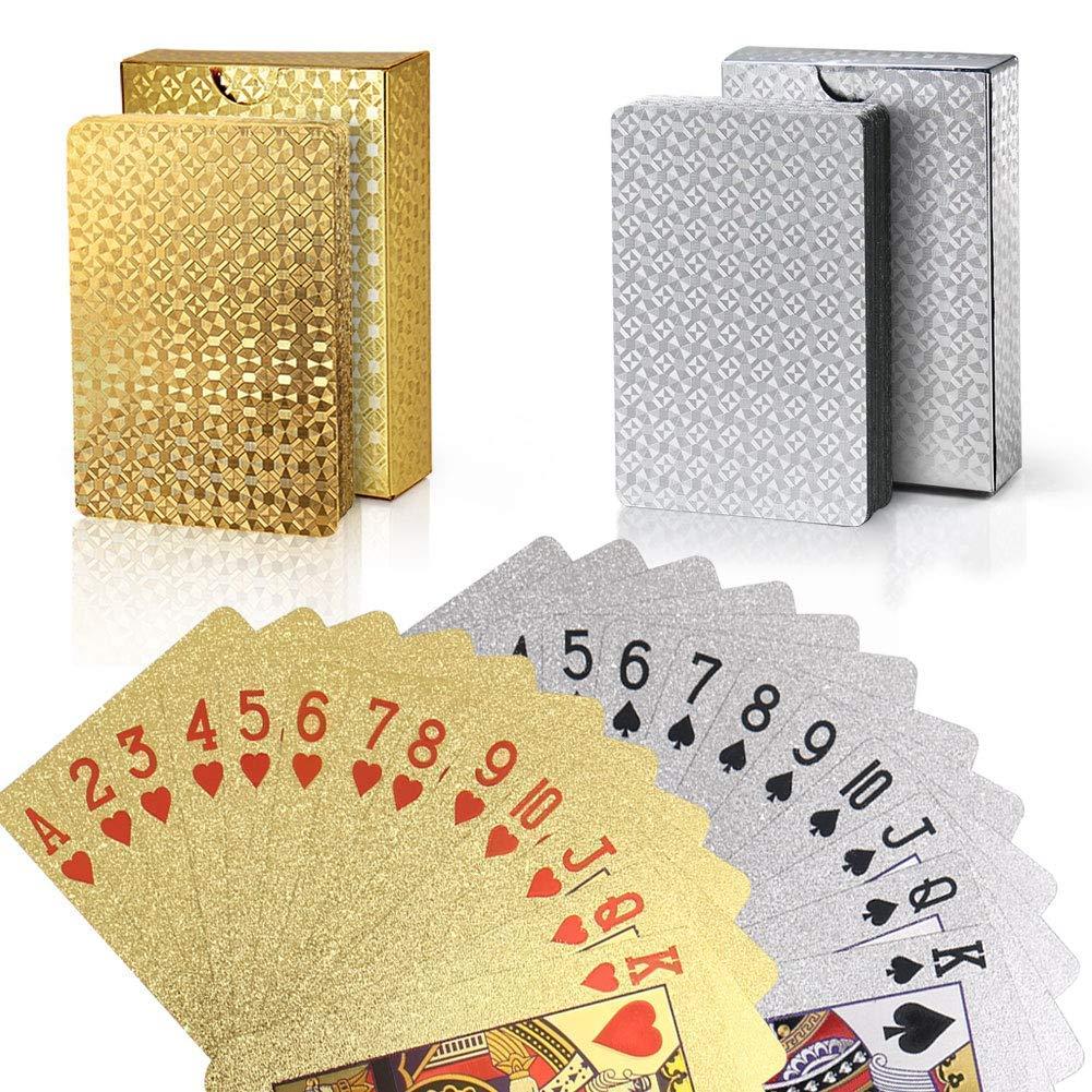 joyoldelf 2 Barajas de Juego de Cartas Cartas Poker Trucos de Magia Clásicos paraFfiestas y Juegos Naipes de Papel de Oro y Plata (Oro + Plata)