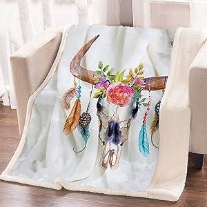 ARIGHTEX Boho Chic Western Bull Skull Blanket Watercolor Floral Cow Skull Blanket Reversible Sherpa Fleece Throw Blankets (60 x 80 Inches)