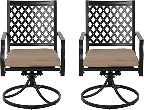 NUU GARDEN Outdoor Metal Patio Dining Chairs Set of 2