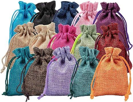 Imagen deBENECREAT 30 PCS 15 Colores Bolsas de Arpillera 9x7cm Bolsas de Regalo con Cordón Bolsa de Tela para Fiesta de Bodas y Artesanía de Bricolaje 2 PCS/Color