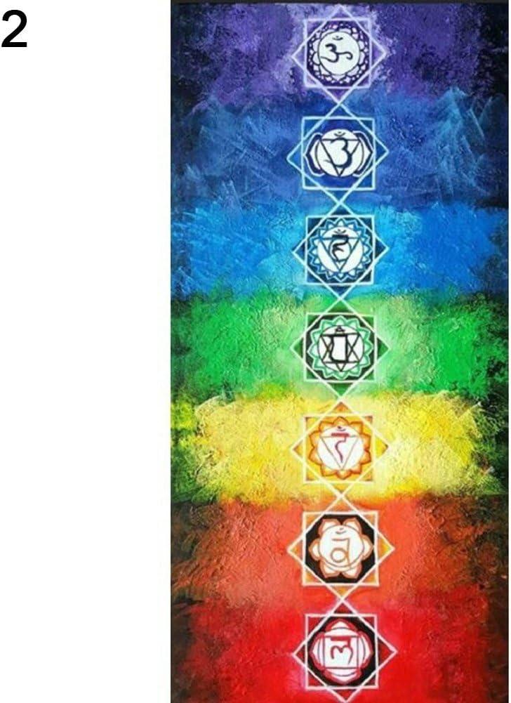 Motiv: Regenbogen//7 Chakra-Mandalas Sanwood Strandtuch//Yogamatte 1# Large Decke im Boho-Stil Polyester