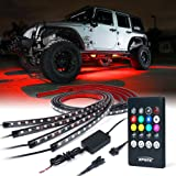 Xprite Car Underglow Underbody System Neon Strip Lights Kit w/ Sound Active Function and Wireless Remote Control 5050 SMD LED Light Strips (Color: RGB)