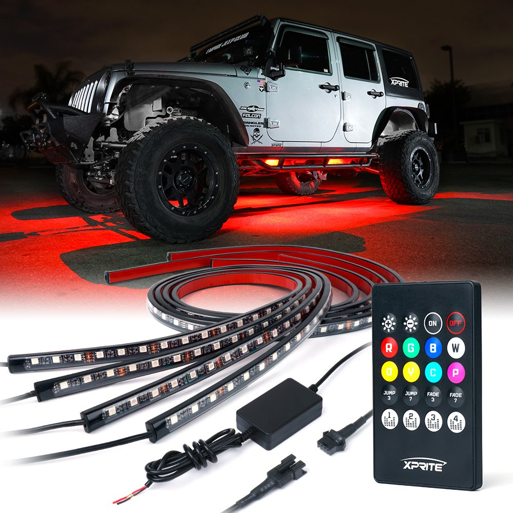 Led Lights For Cars >> Xprite Car Underglow Underbody System Neon Strip Lights Kit W Sound Active Function And Wireless Remote Control 5050 Smd Led Light Strips