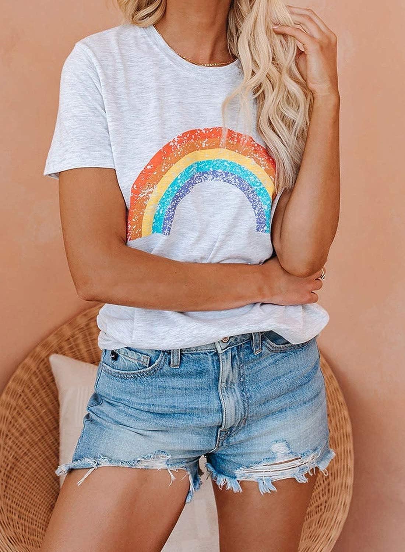 S-XXL Acelitt Women Casual Summer Short Sleeve Crewneck Color Block Blouse Top