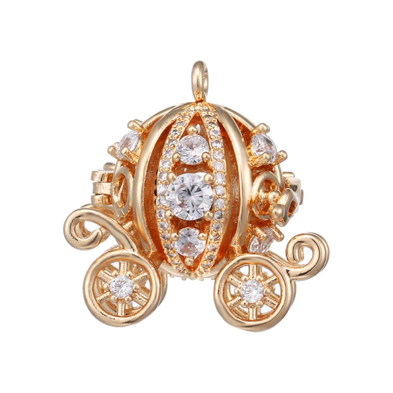 Beydodo Essential Oil Diffuser Necklace Women Pumpkin Carriage White Cubic Zirconia Pregnancy Gifts Mom