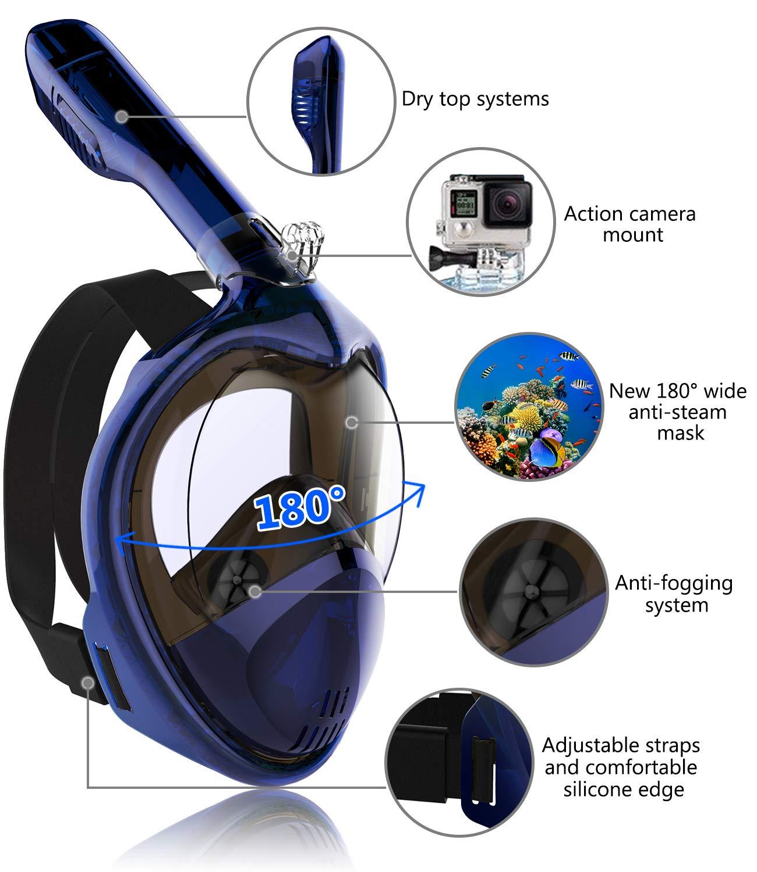 Tooklanet Maschera da Snorkeling Vista panoramica a 180 ° con Super HD Mirror
