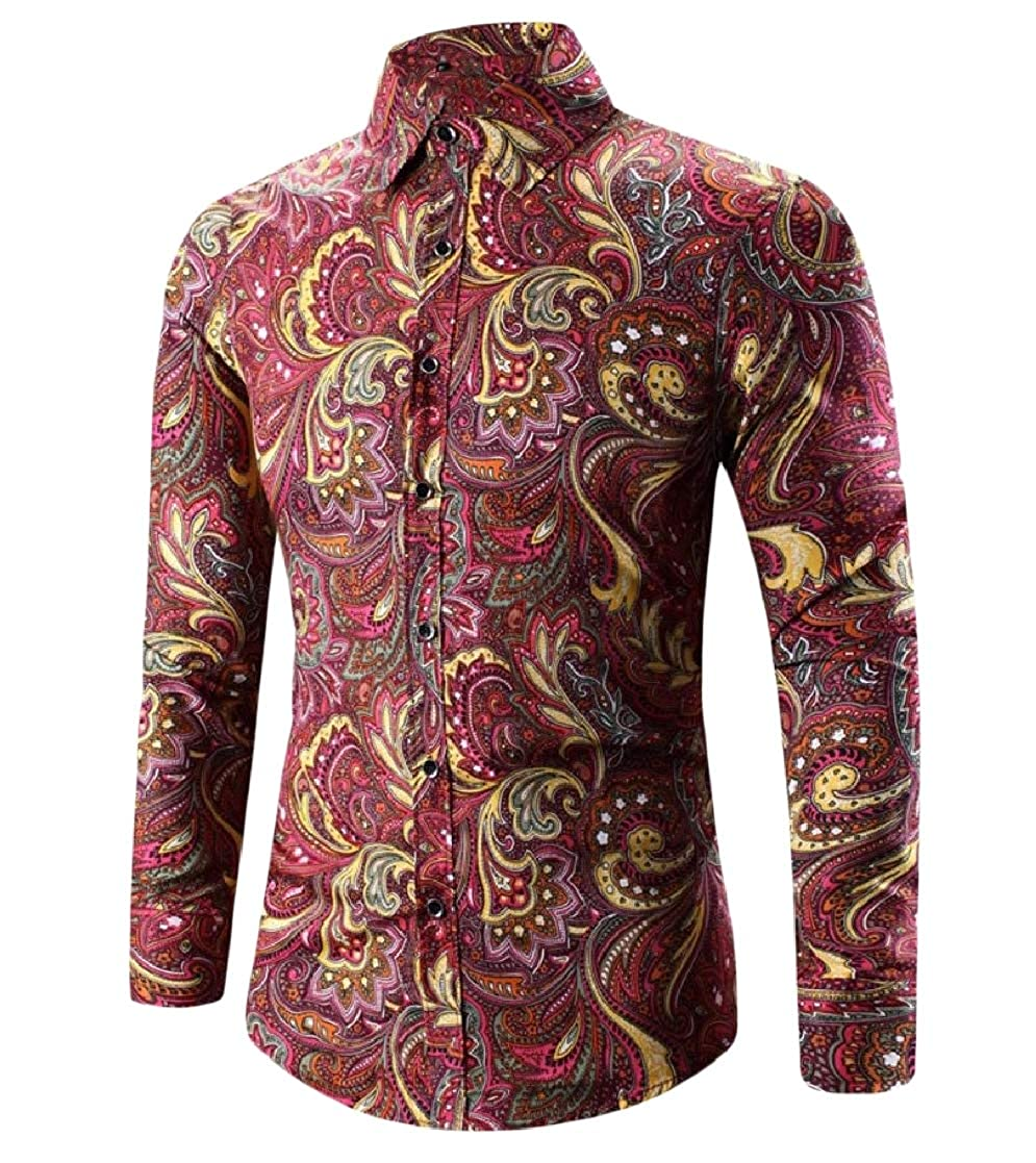 YUNY Mens Button Printed Long Sleeve Plus-Size Blouses and Tops Shirts Rose Red L