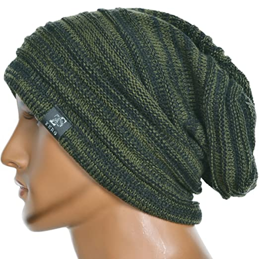 Men's Vintage Baggy Slouchy Green with Navy Blue Knit Beanie Skull Cap Hat Available in 20 Different Colors and Patterns by FORBUSITE