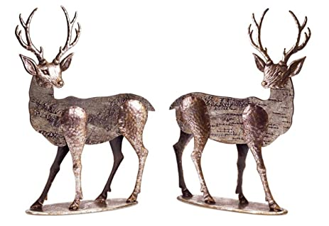 set of 2 two tone bronze metal and wood reindeer christmas decorations 20 - Metal Reindeer Christmas Decorations