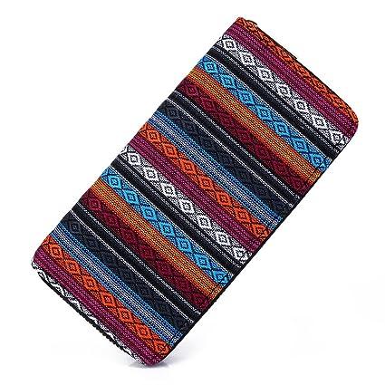 7dd35c770802 Amazon.com : Money coming shop Woven Boho Long Women Wallet Aztec ...