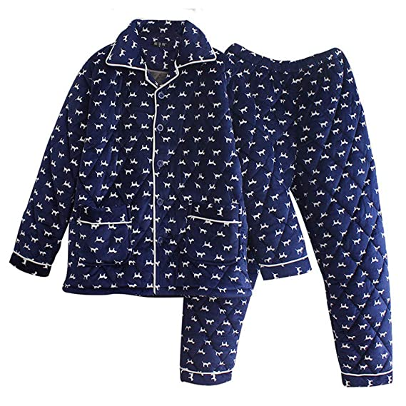 Lonimor Men Pajamas Autumn and Winter Three-Layer Thick Flannel Home  Service Suit  Amazon.co.uk  Clothing 63a241b36