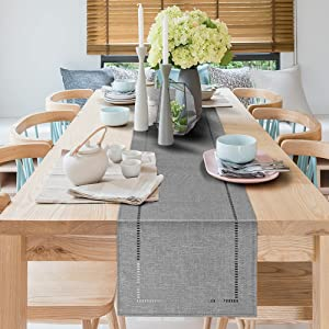 Linen Dining Table Runner 13x71, Farmhouse Style Gray Table Runner Setting Dresser Scarves Coffee Table Runners Tabletop Collection for Party Holidays Home Decor