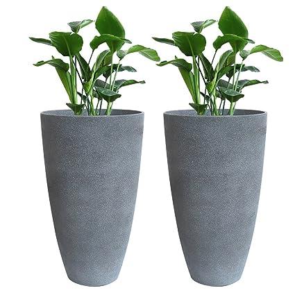 Tall Planter Set 2 Flower Pots, 20u0026quot; Each, Patio Deck Indoor Outdoor  Garden