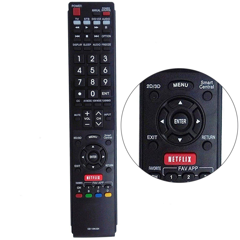 New GB118WJSA Replacement Smart TV Remote Control Fit for Sharp Aquos TV  GB005WJSA GB004WJS GA890WJSA LC60C6600U LC60EQ10U LC60EQ30U LC60LE660U