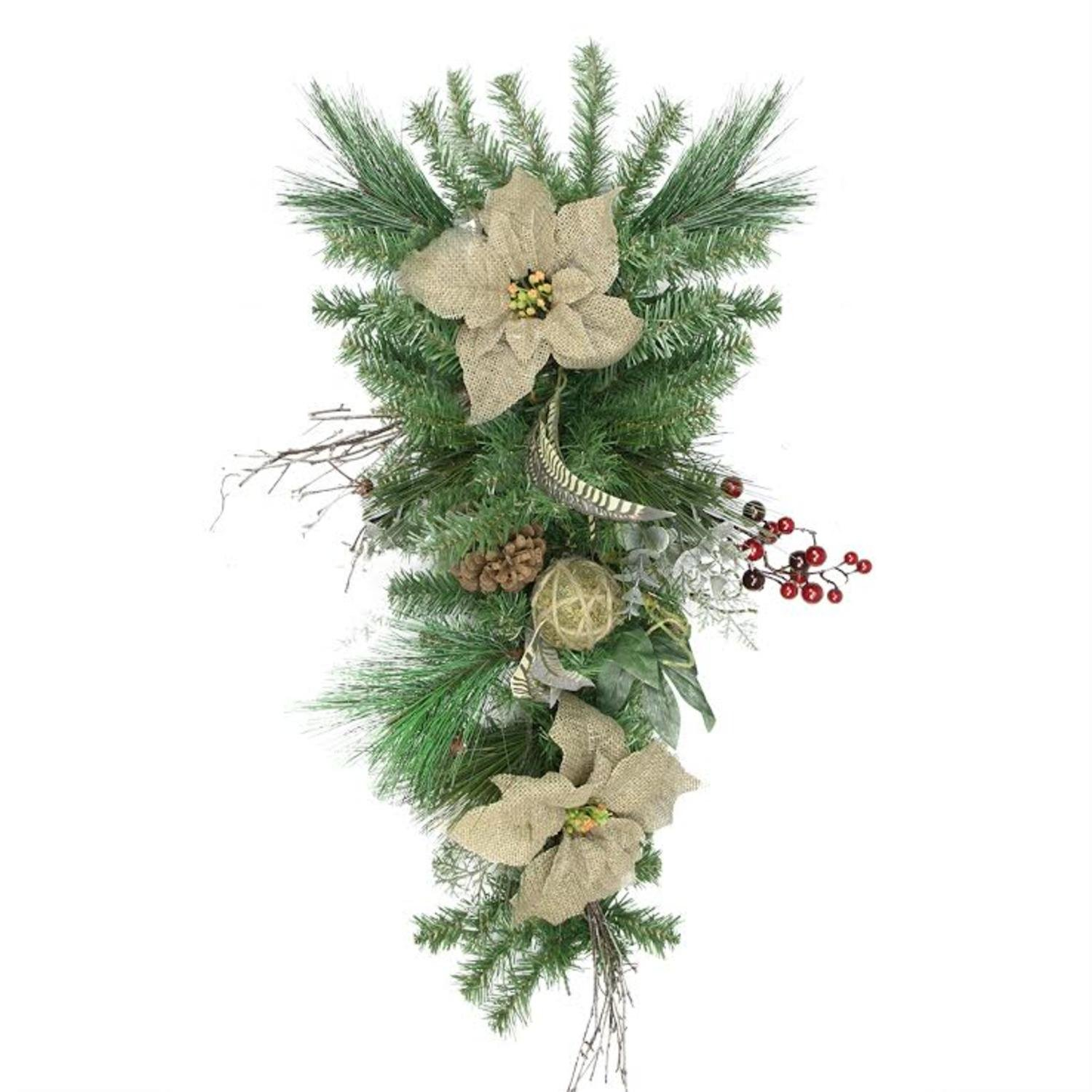 Northlight 28'' Mixed Pine Berry and Burlap Poinsettia Artificial Christmas Teardrop Swag - Unlit