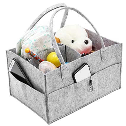 LoveStory - Organizador de pañales para bebé, cesta portátil para almacenamiento de guardería con compartimentos