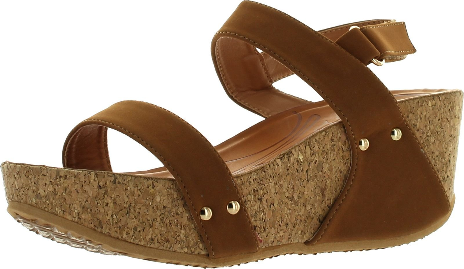 Forever Link Womens Freya-34 Fashion Stud Embellished Low Top Wedge Sandals,Tan,7