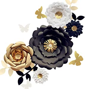 Fonder Mols 3D Paper Flower Decorations(Set of 13, White Black Gold), Giant Paper Flowers for Wedding Backdrop, Graduation Party, Bridal Shower, Wedding Centerpieces, Nursery Wall Decor