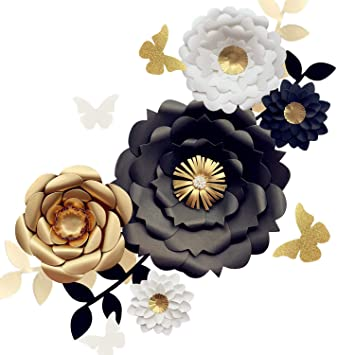 Fonder Mols 3d Paper Flower Decorations Set Of 13 White Black Gold Giant Paper Flowers For