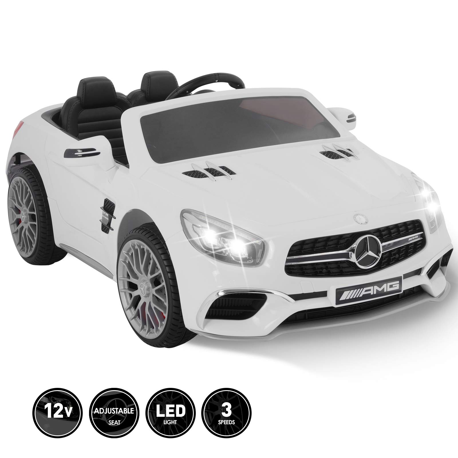 Fitnessclub 12V Kids Ride On Car Toy Licensed Mercedes-Benz AMG Roadster SL65 Electric Car Remote Control Spring Suspension LED Lights Safety Lock Detachable Battery 3 Speeds USB White