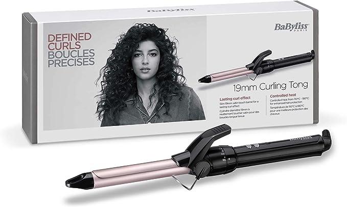 BaByliss C319E Tenacilla de pelo de 19 mm, 10 ajustes de temperatura, moldeador de pelo, cable profesional giratorio, recubrimiento Sublim Touch con punta fría de agarre: Amazon.es