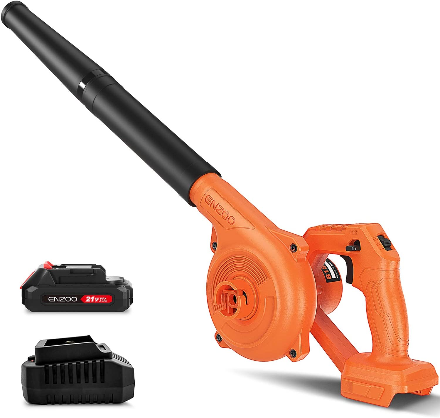 ENZOO Cordless Electric Leaf Blower/Dust Vacuum 2-in-1 Variable Speed MAX 20V Includes 2.0Ah Lithium-Ion Battery and Charger Designed for Light Yard Work and Hard Surface Sweeping (Orange)
