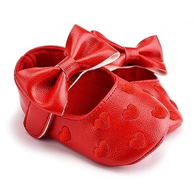 La Cabina Chaussures Bébé Fille -Chaussure Bébé Fille Premier Pas -Chaussures Souples Confortable - Chaussures Antiglisse pour Hiver Printemps été (6-9 mois, rose)